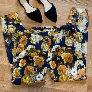 Zara Basic Floral Skinny Ankle Pants D1